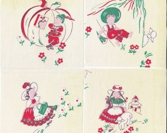 Fabric Precut 4 1/2 Inch Squares - 8 Nursery Rhyme Cotton Fabric ~ Peter Peter ~ Mary Had Lamb ~ Boy Blue ~ Mary Mary ~ 4 Quilting,  ~ NR 1
