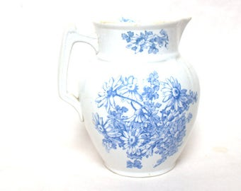 Daisy T.G. & F. P. Blue and White Pitcher Small 1800's