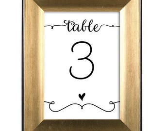 Table Numbers - Modern Hearts and Flourishes / Wedding / Bridal Shower / Baby Shower / Birthday Party