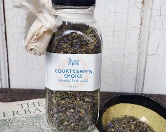 16 oz bottle of Cortesan's Choice Rejuvenating Herbal bath soak