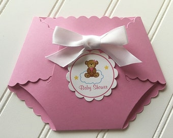 Twinkle Twinkle Little Star  Baby Shower Invitation  / Diaper / Die Cut / Baby Girl / Set of 10 Invitations