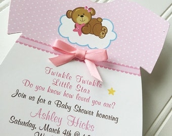 Baby Shower Onesie Invitation / Twinkle Twinkle Little Star / Baby Girl /  Set of 10