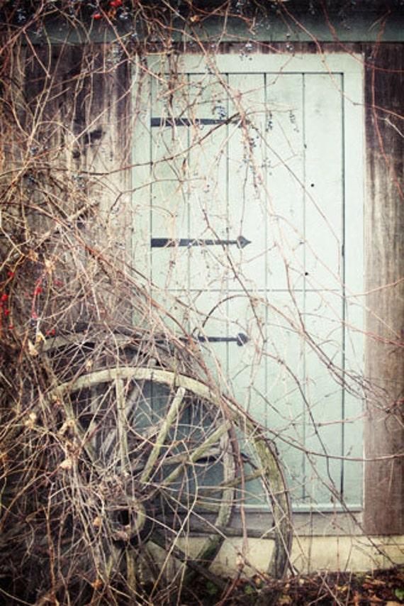 Rustic Barn Door Photograph, Green Door Photo, Rustic Farmhouse Decor, Old Wagon Wheel