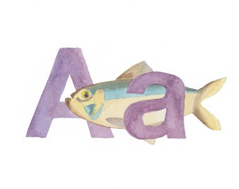 A is for Alewife Watercolor - Up North Michigan - Alphabet Art Print