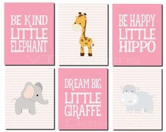 Girl Nursery Art Decor, Jungle Animals Wall Art, Hippo, Kids Wall Art, Zoo Animals, Circus Animals Nursery Art, Set of 6, Print or Canvas