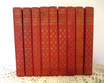 The World's Best 50 short Novels, 1929, Funk and Wagnall's, nine volumes, red and gold beauties