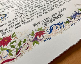 The Christmas Story/Luke 2/Original Hand Done Calligraphy and Painting/Bible Art/paper only