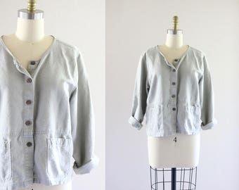 sage gray linen summer jacket