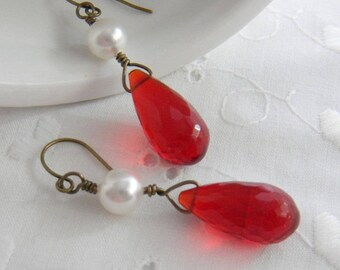 Red Earrings, Pearls and Teardrops, Dangle Earrings, Antique Brass, wire wrapped, Red, Scarlet, Cherry, Strawberry, Briolette