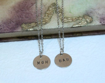 Personalized MOM & DAD Silver Plate Necklace