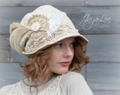 Bohemian Lace Hat, Slouchy Bucket Hat, Shabby Chic Cloche Hat, Mori Girl Fashion, Folklore Lagenlook