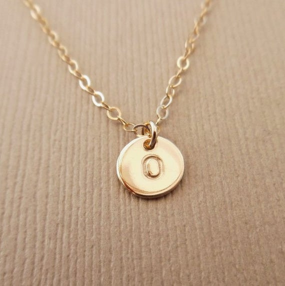 Tiny Disc Necklace, 14kt Gold Filled, Initial Disc Necklace, Hand Stamped Initial, Gold Initial Disc Necklace, Personalized, Monogram