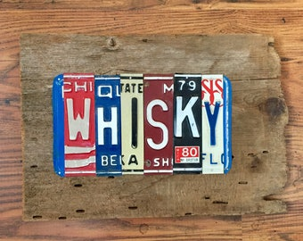 WHISKY license plate sign tomboyART art recycled upcycled pig BBQ bourbon rye american pie tomboy art