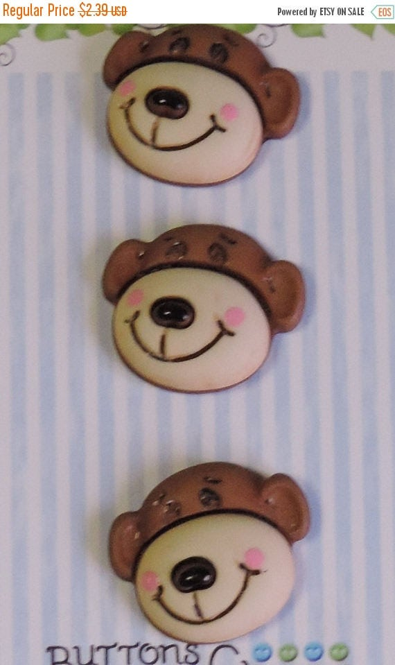 """SALE Monkey Buttons, """"Max The Monkey"""" Carded Novelty Buttons by Buttons Galore, Shank Back, Set of 3"""