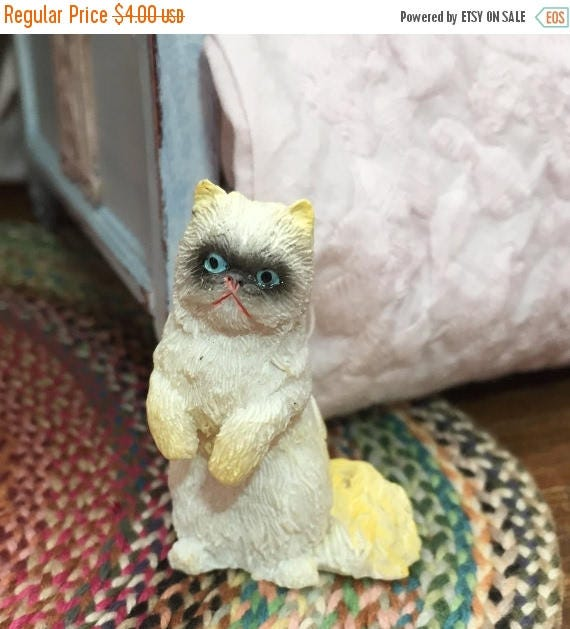 SALE Miniature Cat Figurine, Gold & White, Blue Eyes, Standing Cat, Style 11, Dollhouse Miniature, 1:12 Scale, Dollhouse Size Figurine