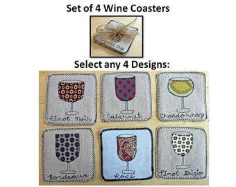Set of Four WINE Coasters - Handmade Fiber Folk Art Coasters - Upcycled Fabrics, Embroidered, Individually Designed