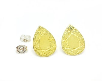 Faceted Teardrop Brass Post Earrings