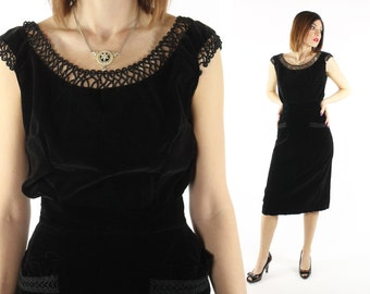 Vintage 50s Velvet Cocktail Blouse Sleeveless Top Black Shirt Holiday Little Black Dress LBD 1950s Medium M