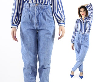 Vintage 80s High Waisted Jeans Denim Pleated Trousers Mom Jeans Tapered Legs 1980s Medium M