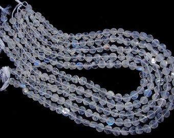 Rainbow Moonstone Smooth Coin Semiprecious Gemstone Beads, (Quality A) / 6.5 to 7 mm / 36 cm / RA-026