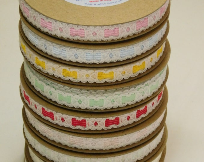 "White Nottingham ""Edwardian"" Lace Ribbon, several colors available, 1/2 inch width Woven Edge, 15 foot roll, Made in England"