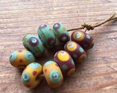 Butternut, Cocoa and Olive Lampwork Glass Beads , SRA, UK Seller, UK Lampwork