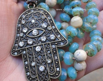 Bejeweled Hamsa Pendant Hand Knotted Gemstone Necklace, Boho Chic Long Statement Necklace, Aqua Czech Glass & African Opal Beaded Necklace