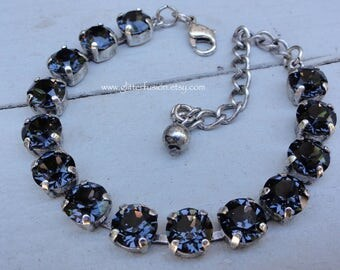 Graphite Swarovski Crystal Cup Chain Tennis Bracelet, Noir Neutral Crystal Bridesmaid Bracelet, Dark Gray Crystal Bracelet, Glitter Fusion
