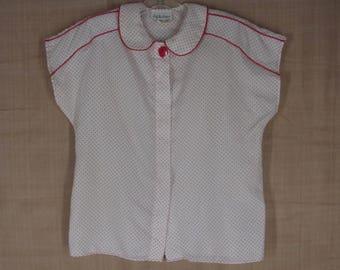 Vintage 70s Blouse 12 Lady Manhattan Secretary Top White Red Polka Dots Peter Pan Collar