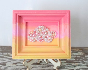 Cloud Picture - Sunrise, Sunset Mosaic Art - Cloud Nursery Decor - Framed Art - Pearl Collage Rain Cloud - Coral Pink Yellow Ombre Frame