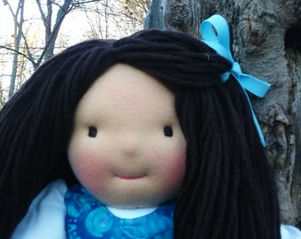 """SALE on all Waldorf Dolls, Handmade Waldorf Doll, Cloth Doll, Rag Doll, 16"""",  Cotton and Wool Doll, Doll for Boys and Girls Active"""