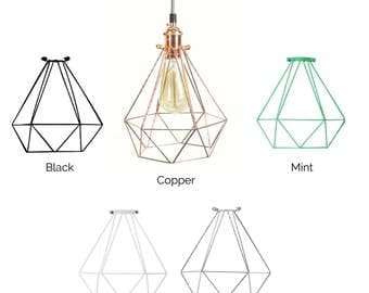 diamond cage pendant any color custom pendant lamp modern industrial pendant light fixture hardwired or plug