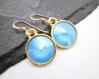Light Blue Dangle Earrings -- Summer Blue Dangles -- Round Blue Drop Earrings -- Light Blue Swarovski Drops -- Summer Blue Crystal Dangles