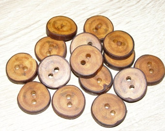 "Small 15 Handmade plum wood Tree Branch Buttons with Bark, accessories (0,83'' diameter x 0,20"" thick)"