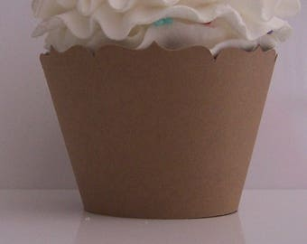 25 Kraft Paper Cupcake Wrappers...Fully Assembled... Kraft Paper Brown, Neutral, Woodland, Forest, Nature, Rustic