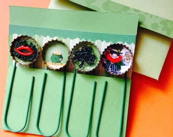 St Patrick's Day Bottle Cap Large Paperclip 4 piece card/gift set