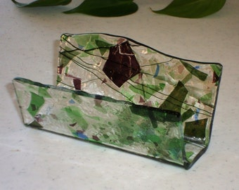 Fused Glass Business Card Holder -  Blue, green and purple 12223