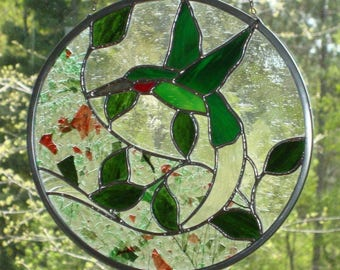 Hummingbird-Ruby Throat Stained Glass Panel V2