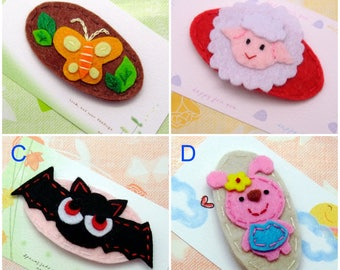 Handmade felt snap hair clip (FC- Group 7)