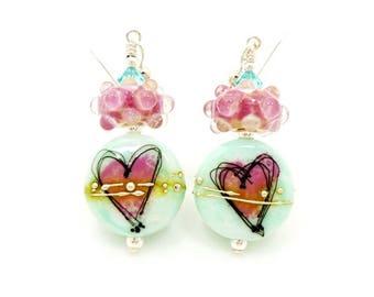 Turquoise Blue Earrings, Heart Earrings, Lampwork Earrings, Glass Bead Earrings, Glass Art Earrings, Pink Heart Earrings, Heart Jewelry