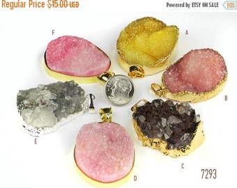 ON SALE Druzy Pendants Drusy Pink Ombre Shaded Yellow Pale Lavender Silver Grey OOAK Gold Leaf Bezel Silver Leaf Bezel -Your Choice of One