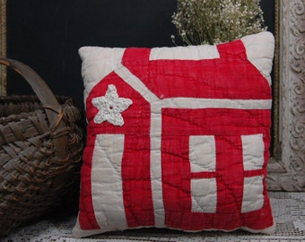 Antique Christmas Red Cream Cotton School House Barn Star Patchwork Quilt Basket Pillow