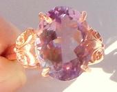 SALE, Victorian Design, Solid 10K Rose Gold, Pink Amethyst, Rose de France, Filigree Ring, Engagement, Wedding, Promise Ring