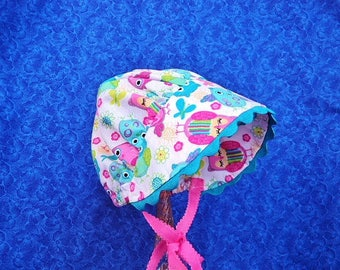 Infant Baby Bonnet with Owls and Turquoise Rick Rack and Hot Pink Grosgrain Ties