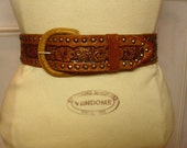 Vintage 1960's/1970's  Hand Tooled Leather Belt  Large