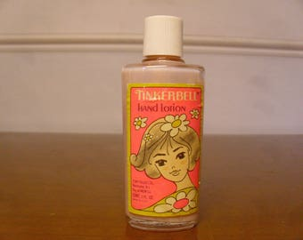Vintage 1960's  Tinkerbell Hand Lotion Glass Bottle