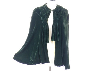 1930s Emerald Green Silk Velvet Cape, Art Deco Cloak