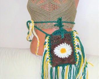 Daisy, hip bag, fanny pack, belt bag, waist bag, festival bag, utility belt, crochet hip bag, festival belt, hip bag crochet