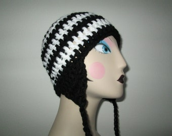 Black and White Earflap Hat Crocheted by SuzannesStitches, Womens Earflap Hat, Teens Earflap Hat, Crocheted Earflap Hat, Chunky Earflap Hat