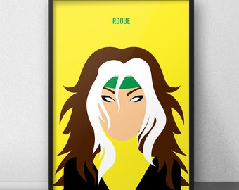 Rogue Xmen, Rogue, Rogue Poster, Marian Carlyle, Xmen Minimalist Art, Rogue Minimalist, XMen Wall Decor, XMen Print, XMen Poster